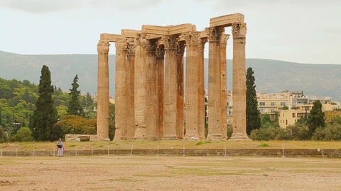 Remains of Temple of Olympian Zeus in Athens, sightseeing tour around Greece Footage