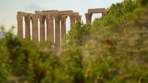 Major tourist attraction in Athens, Olympian Zeus Temple, archaeology excavation Footage