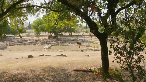 Pan shot of archaeology excavation site, search for ancient historical remains Footage