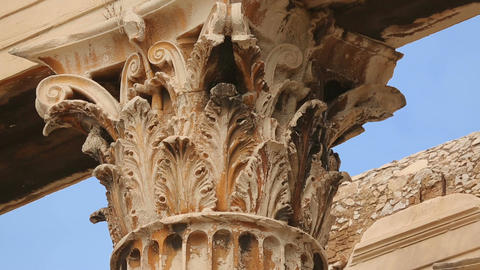 Classical Greek architecture detail, sophisticated moulding on column capital Footage