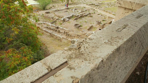 Top view of archaeology excavations site, remains of stone building foundation Footage