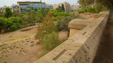 Archaeology excavation site panorama, stone building remains, cultural heritage Footage