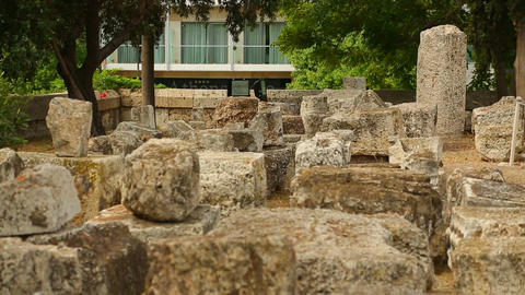 Antique building remains excavated by archaeologists, stones symbolize eternity Footage
