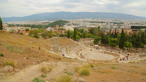 Panorama view of tourist attractions in Athens, cultural heritage conservation Live Action