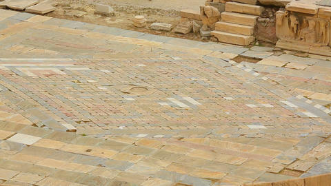 Ancient mosaics on stage of antique theater Central square in historical city Footage