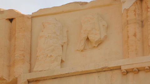 Classical Greek architecture, remains of ancient metope on Parthenon frieze Footage