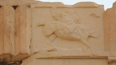 Remains of relief showing horseman, decoration on frieze of ancient Parthenon Footage
