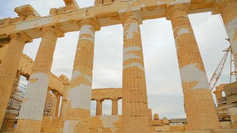 Huge marble columns of Parthenon temple in Athens, classical Greek architecture Footage