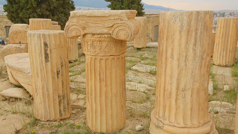 Part of ancient marble column with sophisticated capital, cultural heritage Live Action