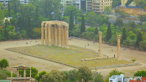 Huge marble columns, tourists viewing ruins of largest temple in ancient Greece Footage