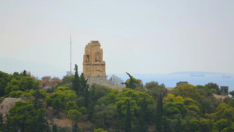 Remains of antique monument on green hill, world cultural heritage preservation Footage