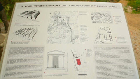Map and detailed information for tourists about ancient Agora area in Athens Footage