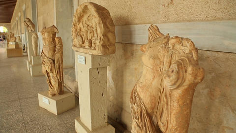 Valuable remains of ancient marble statues exhibited at Stoa of Attalos museum Footage