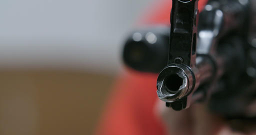Unknown hunter aiming rifle. Close-up of black gunpoint. Hunting, firearm Live Action