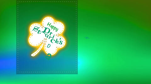 satisfied st patricks day text interior clover on trimming layer on green background designed for Animation