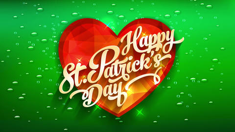 smiling st patricks day invitation covering with orange jewelry heart with flashes of light over Animation