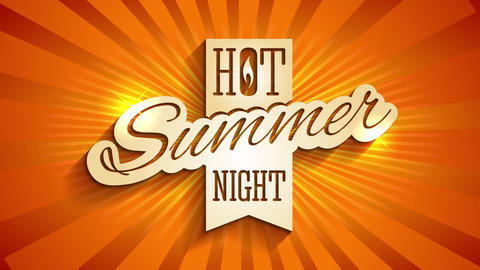hot summer night ad for travel agency made with 3d effect lettering on background with sun rays Animation