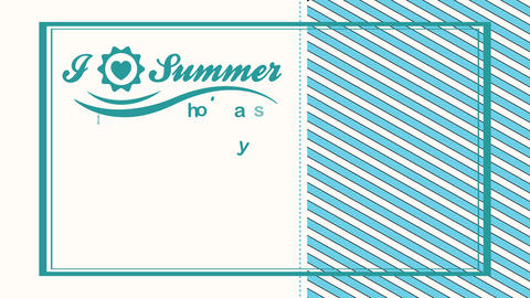 summertime vacation written in half piece of blanck and lined background with a heart indoor a sun Animation