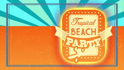 tropical shoreline banquet quick announcement script written on rectangular monochromatic layer Animation