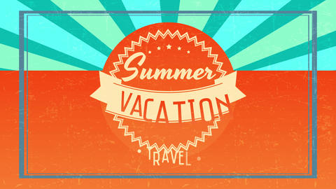 summer vacation travel written with different font typography inside zigzagged graphic over retro Animation
