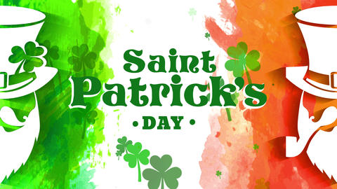 genuine st patricks day concept for vacation promotion with dual dwarf multicolor with green and Animation