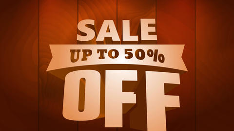 sale announcement up to 50 percent off written with large golden letters calling for consumers Animation