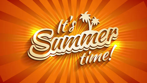 its summer time written with 3d typography with palm trees and sparkles over a sunny background with Animation