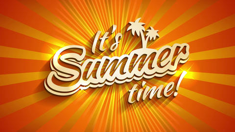 its summertime time written with 3d typography with palm evergreen and sparkles over a shining scene Animation