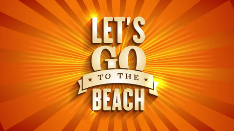 tourism agency announcing summer vacation with text lets go to the beach written with golden shiny Animation