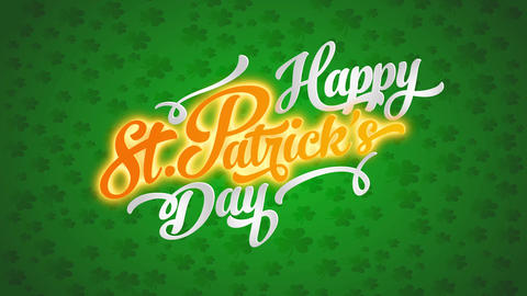 lucky cheerful st patricks day idea over 4 leaf clover pattern background and whiskey banner colours Animation