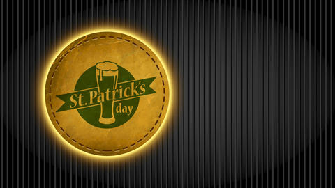 st patrick day commercial thinking for bar with typing written around beer drawn on rounded leather Animation