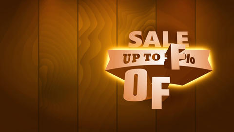 marketing announcement up to 50 percent off written with large gold font calling for consumers Animation