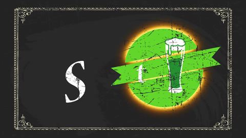 classic st patricks day announcement thinking for bar crafted on chalkboard with large green beer Animation
