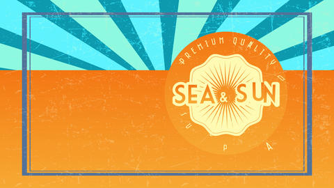 premium value sea and sun summertime paradise written on orange disk pasted towards scene of same Animation