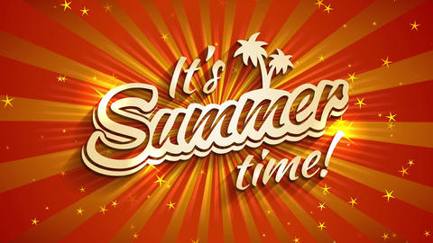 its summertime time written with 3d typography with palm evergreen and sparkles over a sunny scene Animation