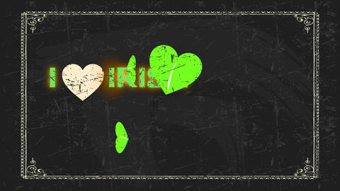 st patricks day message i affection irish written on black chalkboard with a clover replacing a Animation