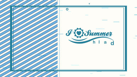 summertime leisure written in bit element of blanck and patterned background with a heart interior a Animation
