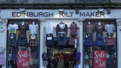 Edinburgh Kilt Maker in old town - EDINBURGH, SCOTLAND - JANUARY 10, 2020 Live Action