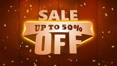 sale announcement up to 50 rate off written with massive golden writing calling for consumers Animation