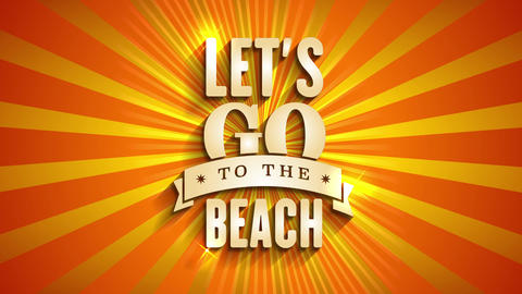 tourism corporation announcing summertime vacation with text lets go towards the seaside written Animation