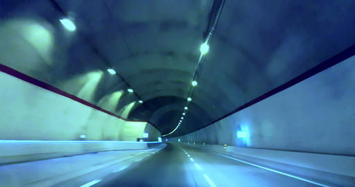 driving through tunnel gallery and blue tint, abstract with motion blur high speed Live Action
