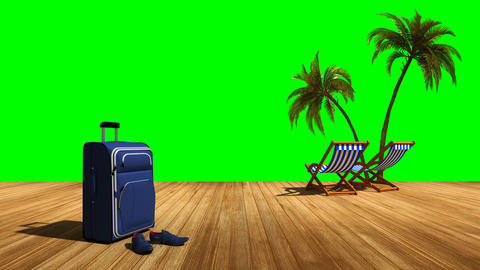 Relax on the beach with palm trees and sea, green screen alpha Animation