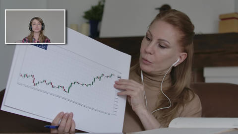 Blond woman showing ascending graph in video chat as her colleague supporting Live Action