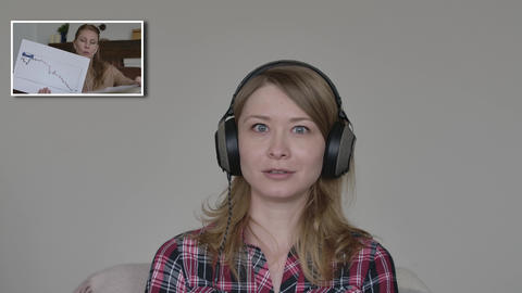 Young woman disagree with business strategy of CEO in video chat. Caucasian Live Action