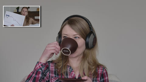 Beautiful young woman drinking coffee and talking with colleague in video chat Live Action