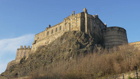 Edinburgh Castle on Castlerock - amazing view on a sunny day Live Action