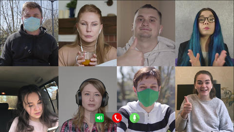 Company of Caucasian people chatting online. Multiscreen of eight cheerful men Live Action