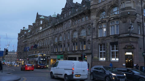 Amazing Cockburn street in Edinburgh Old Town - EDINBURGH, SCOTLAND - JANUARY 10 Live Action