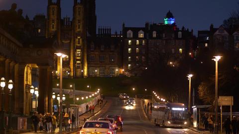Edinburgh by night - EDINBURGH, SCOTLAND - JANUARY 10, 2020 Live Action