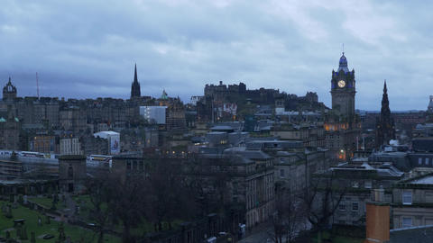 Panoramic view over Edinburgh Old Town Live Action